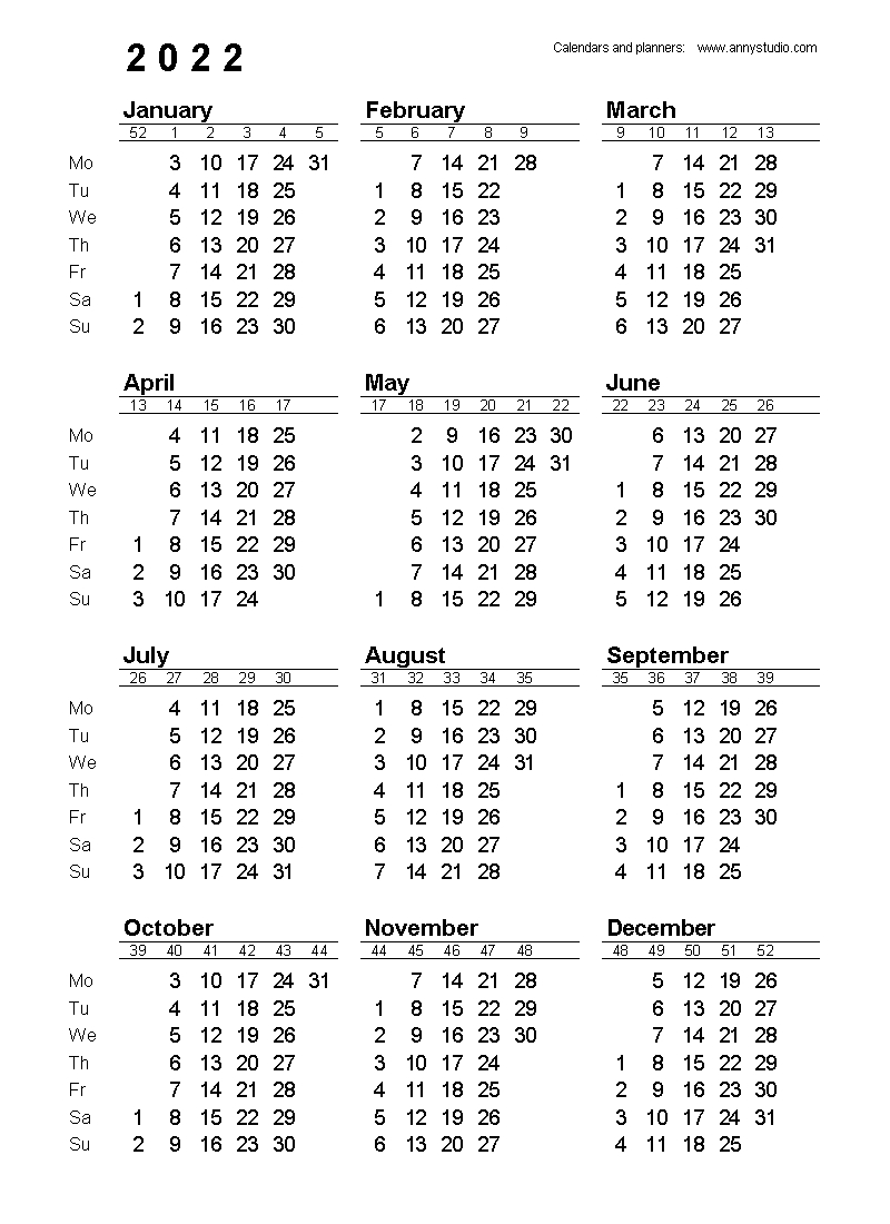 Free Printable Calendars And Planners 2020, 2021, 2022 in Yearly Monday To Sunday Calendar 2020 With Week Numbers