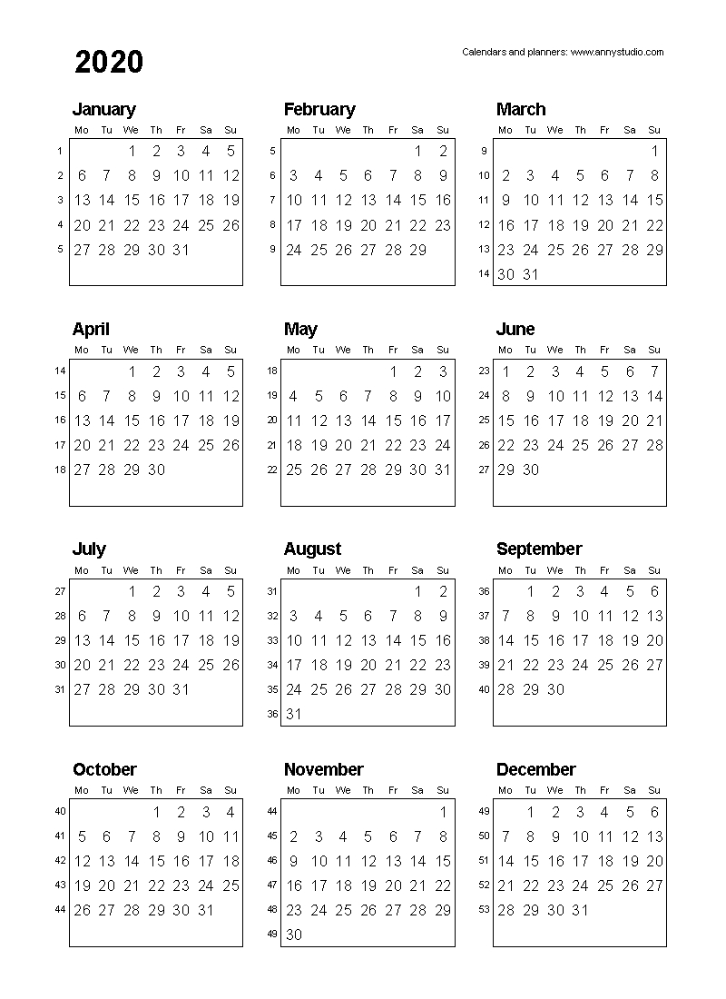 Free Printable Calendars And Planners 2020, 2021, 2022 regarding Yearly Monday To Sunday Calendar 2020 With Week Numbers