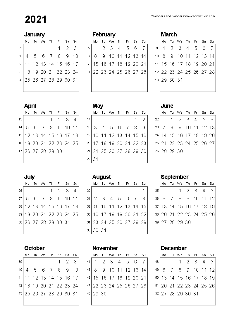 Free Printable Calendars And Planners 2020, 2021, 2022 with regard to 2020 Calendar Weeks Numbered Excel