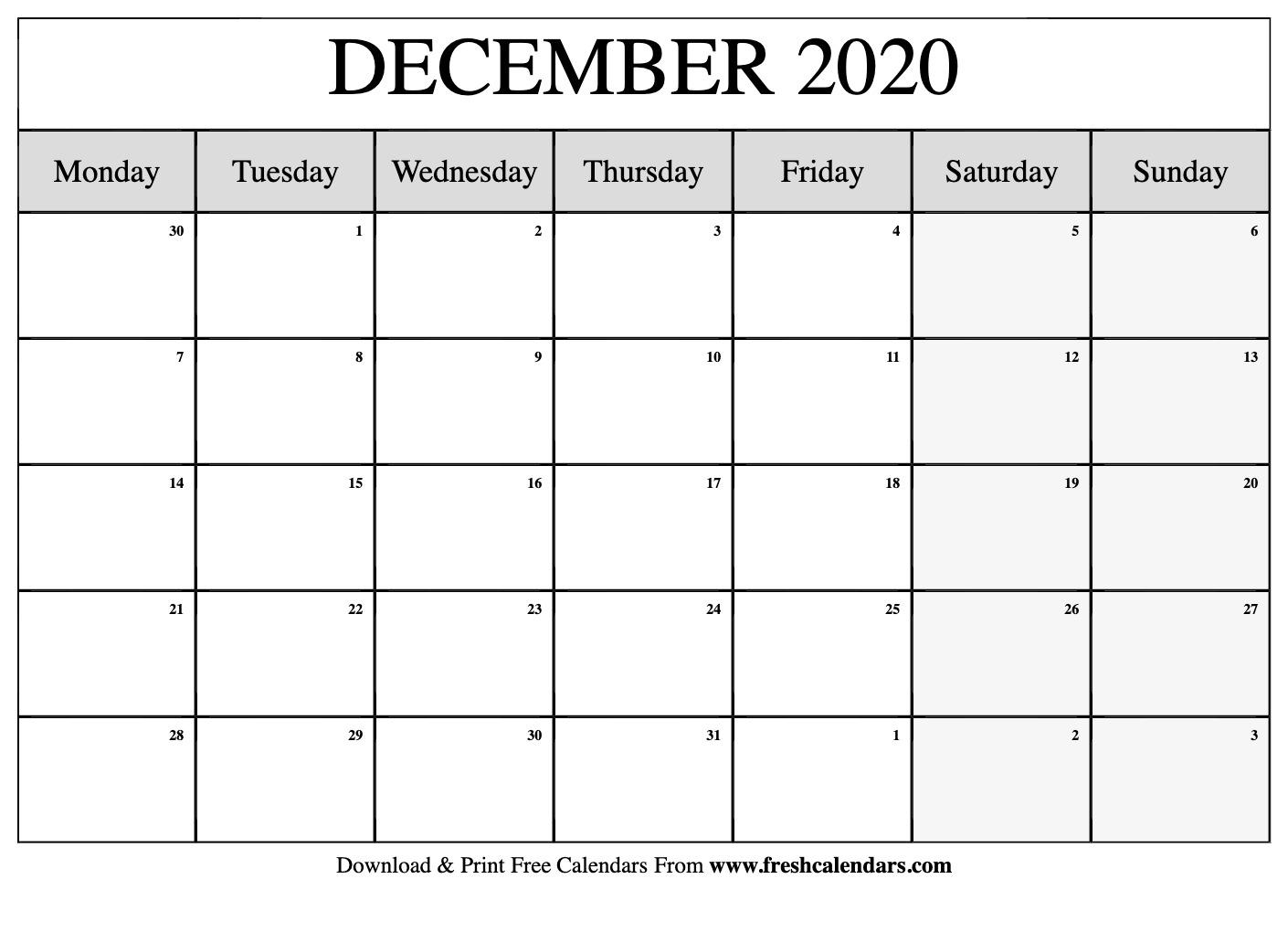 Free Printable December 2020 Calendar intended for Monday Start Printable Calendar 2020