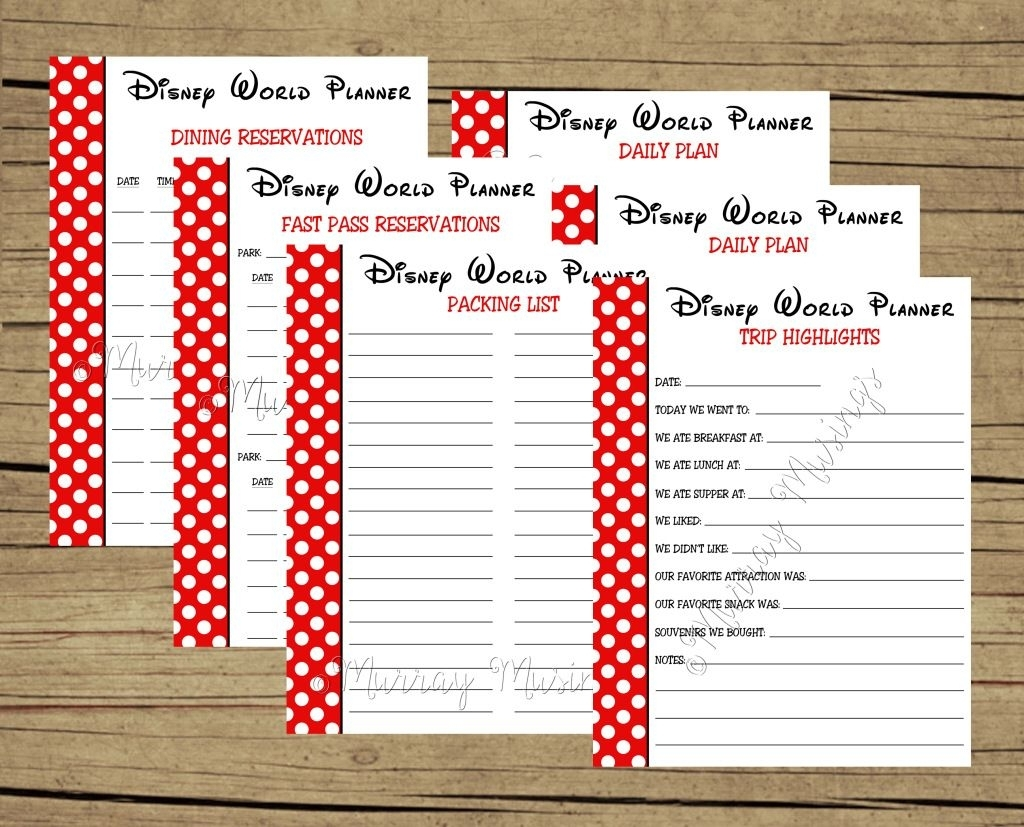 Free Printable Disney World Vacation Planner #freeprintable pertaining to Disney World Itinerary Template Download 2020