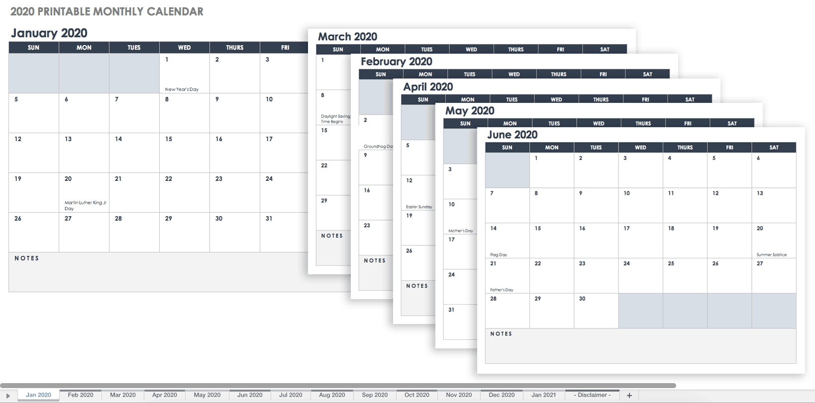 Free, Printable Excel Calendar Templates For 2019 & On throughout 2020 Calendar With All Function