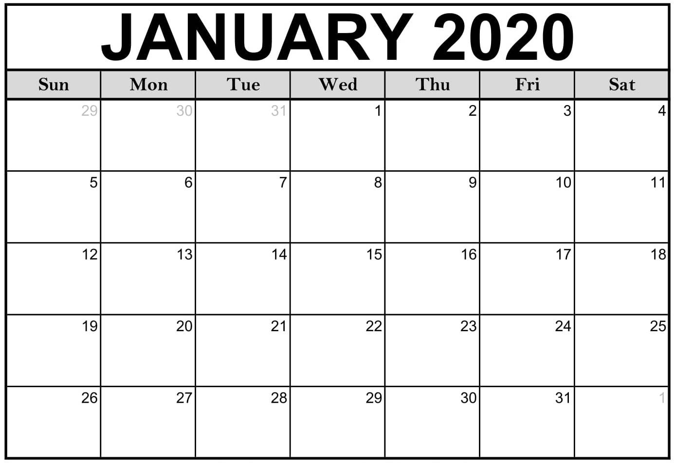Free Printable January 2020 Calendar Editable Datesheets in Printable Fillable 2020 Calandars Monthly At A Glance
