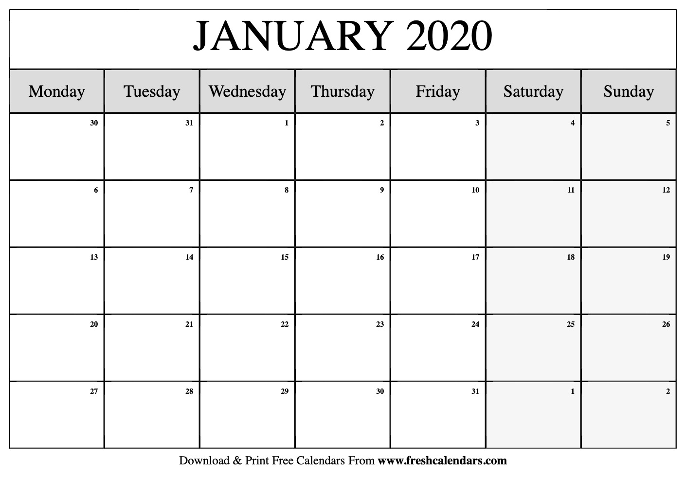 Free Printable January 2020 Calendar with regard to Printable Calendar 2020 Monday Start
