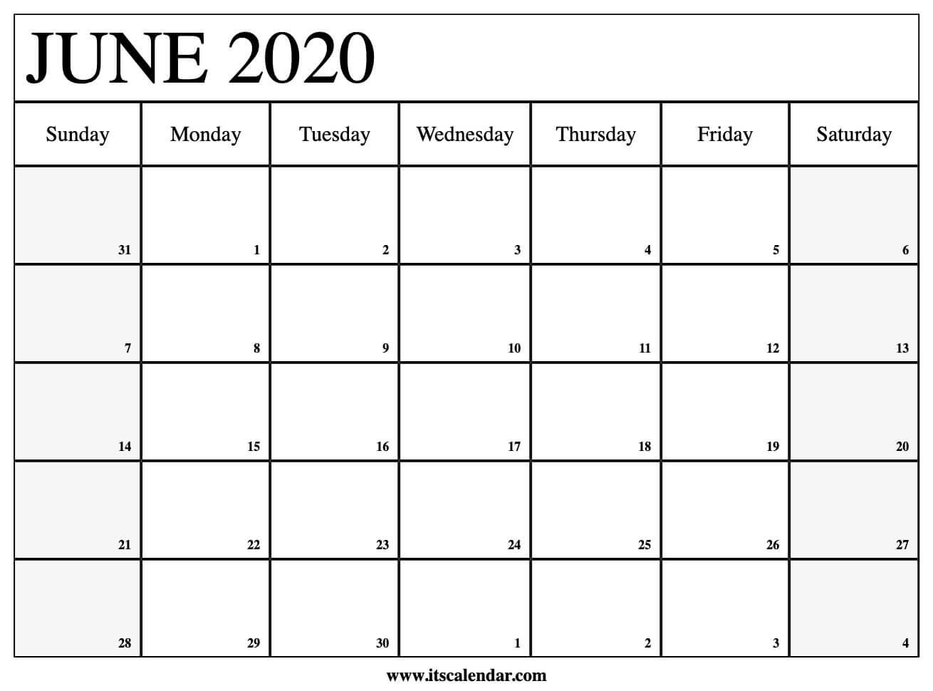 Free Printable June 2020 Calendar in 2020 Liturgical Calendar June 2020