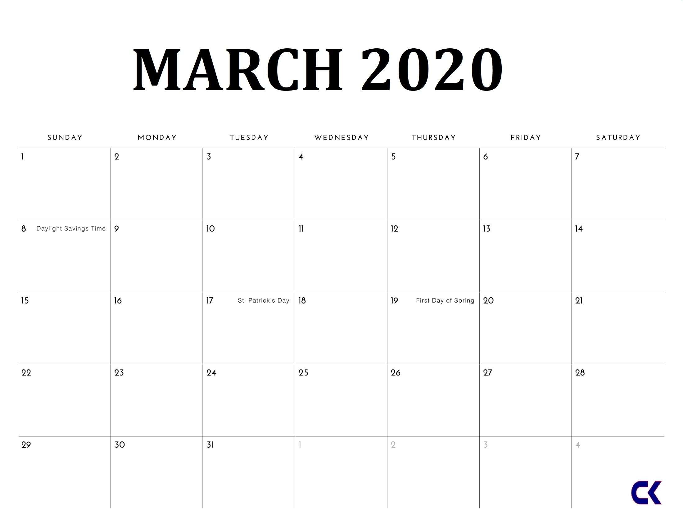Free Printable March 2020 Calendar - throughout Free Weekly Catholic Calendar 2020