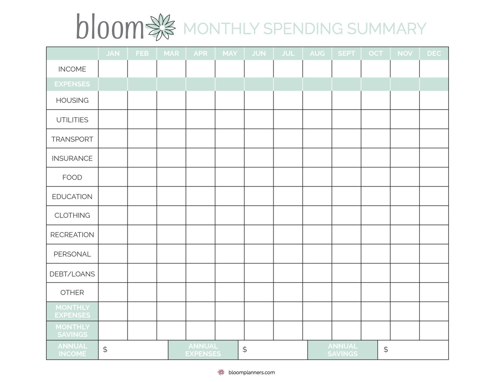 Free Printable Monthly Bill Tracking From Bloom Daily with regard to Bill Organizer Free Print Month Year