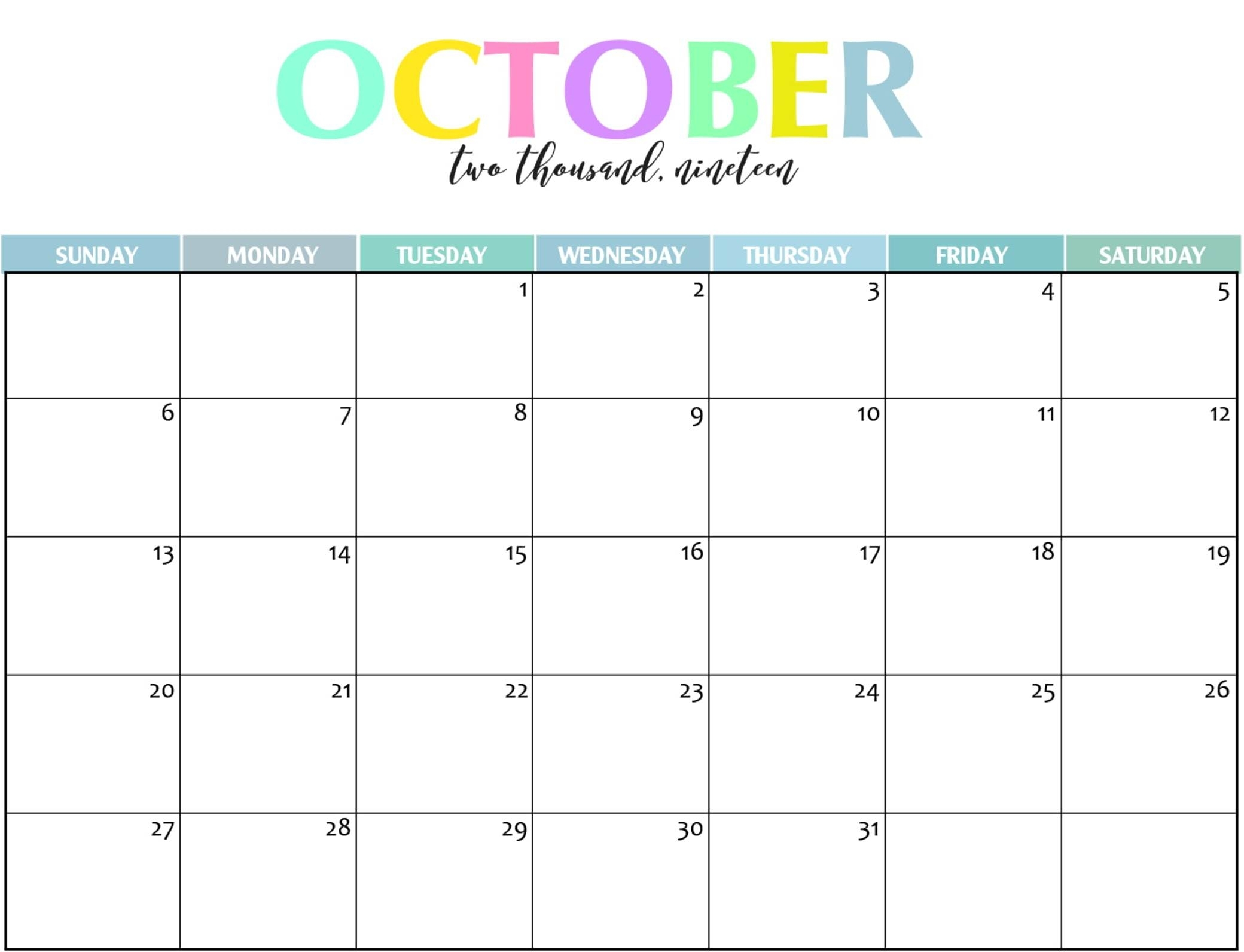 Free Printable October 2019 Calendar Editable - Set Your regarding Printable Calendar 2019 With Lines