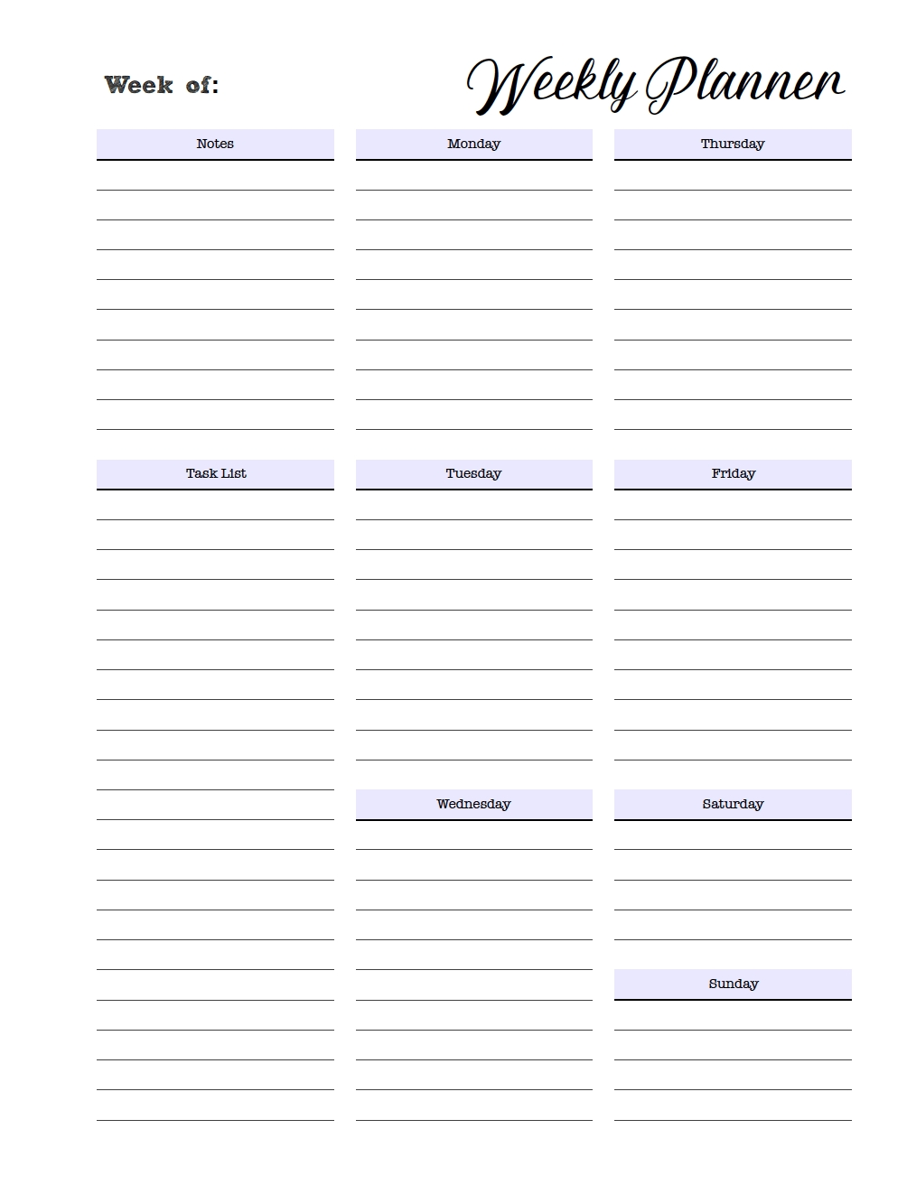 Free Printable Weekly Planners: Monday Start intended for Printable To Do Monday To Friday