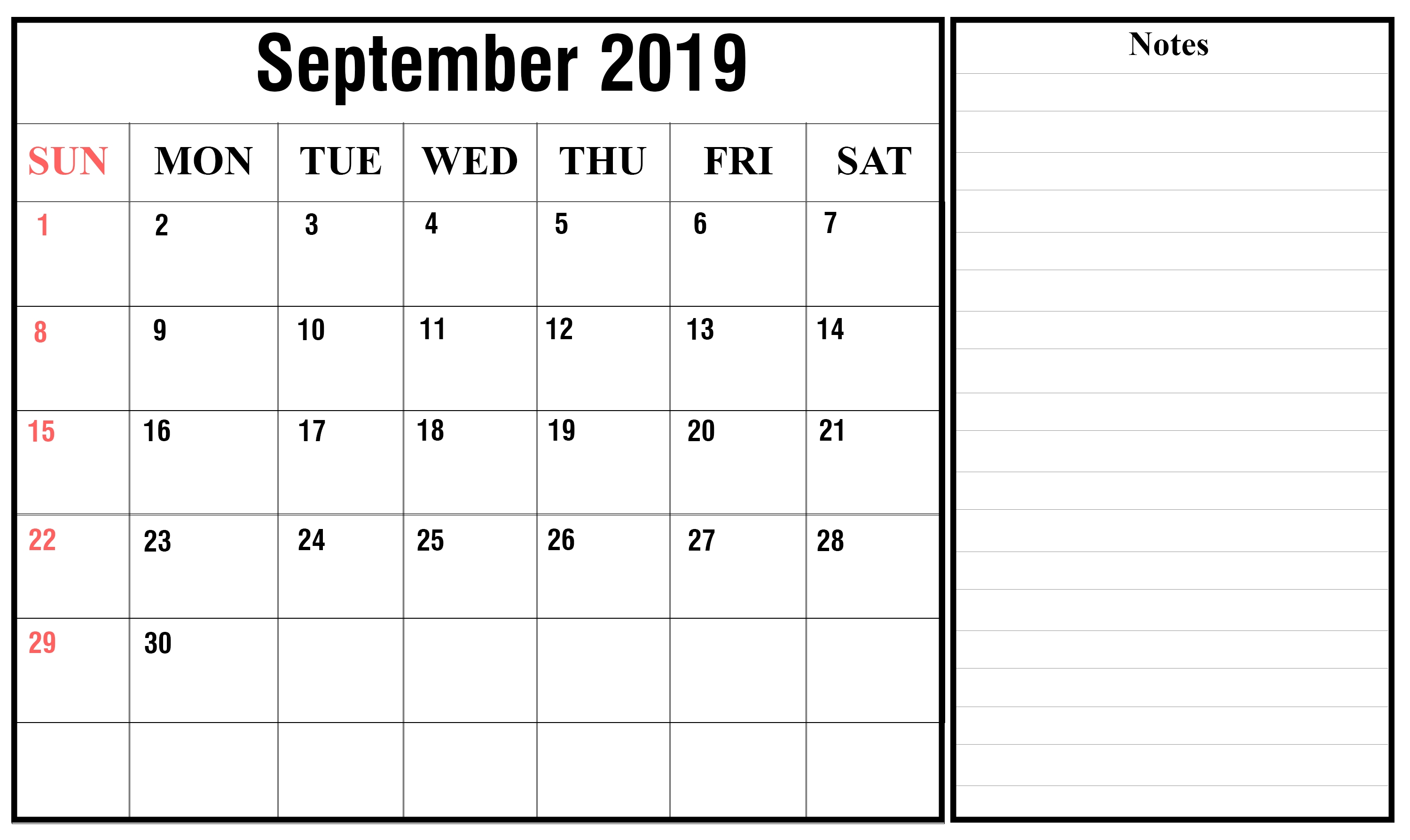 Free September 2019 Printable Calendar In Pdf, Excel & Word for Printable Calendar 2019 With Lines