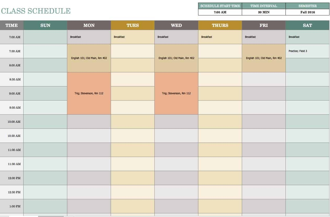 Free Weekly Schedule Templates For Excel - Smartsheet for Monday To Friday Timetable Excel