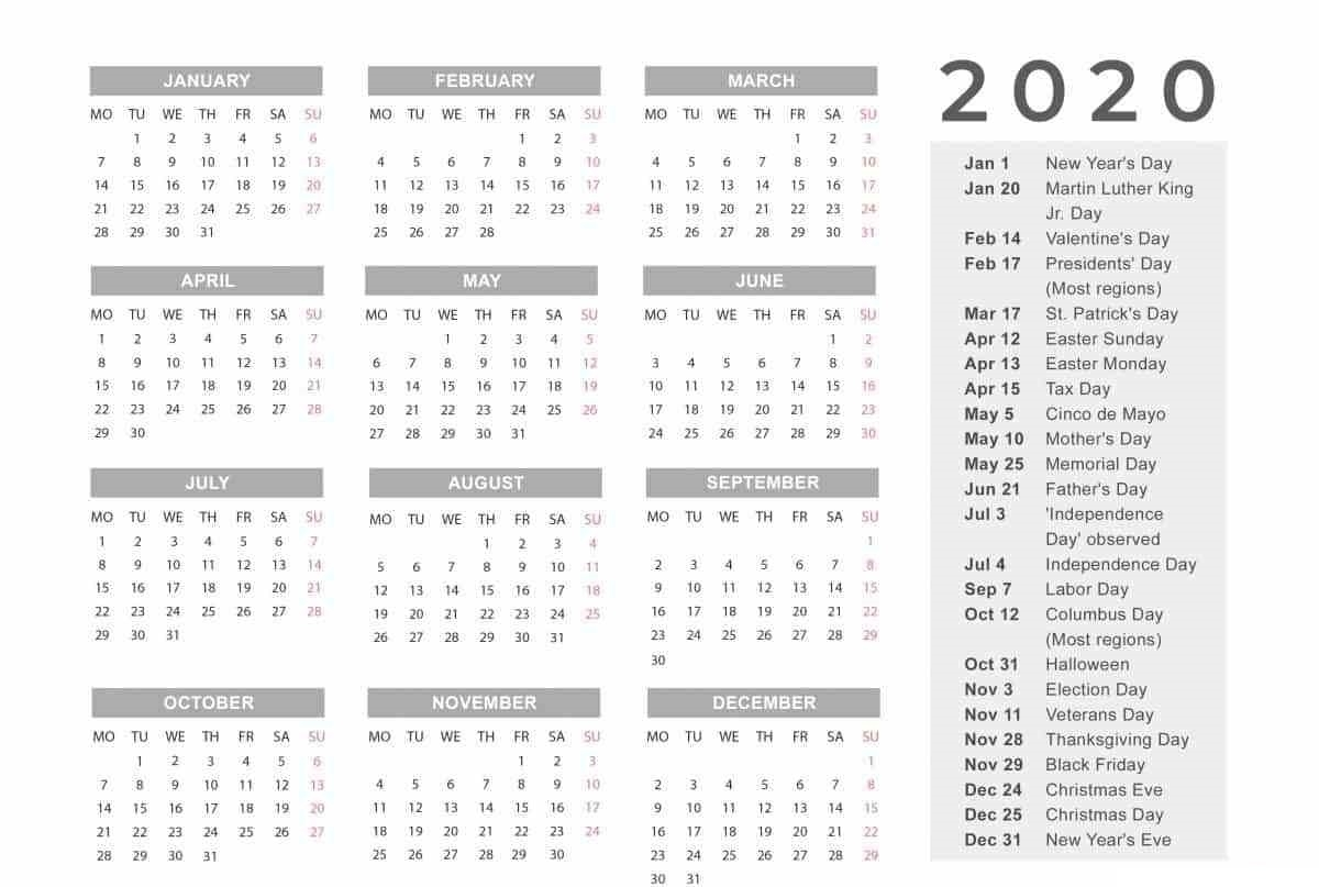 Free Yearly 12 Month Calendar One Page Template Printable inside 2020 12 Month Monday To Sunday Calendar Template
