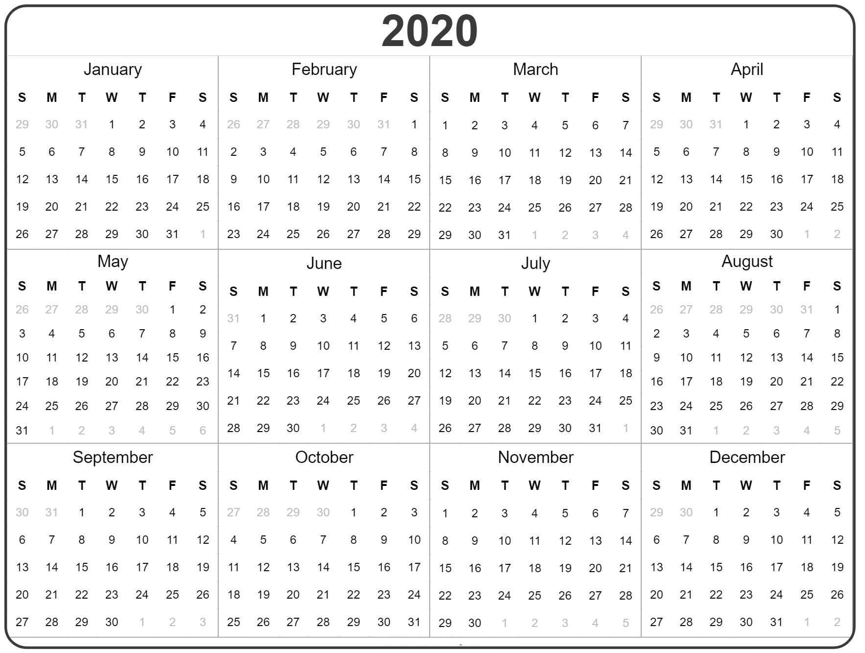 Free Yearly Calendar 2020 With Notes - 2019 Calendars For regarding Calendar At A Glance Printable 2020