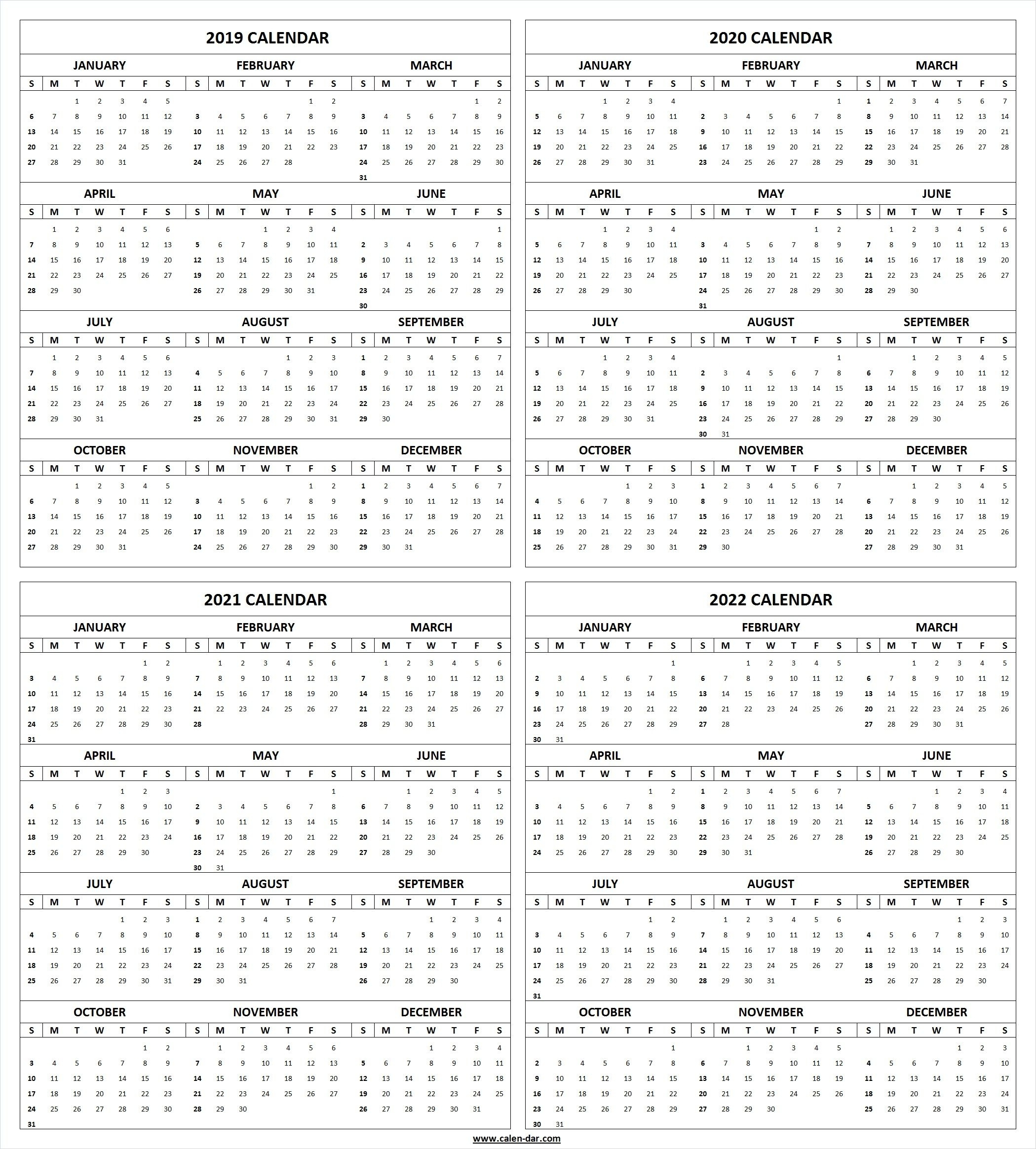 Get Free Blank Printable 2019 2020 2021 2022 Calendar with 2019 2022 Year Calendar Printable