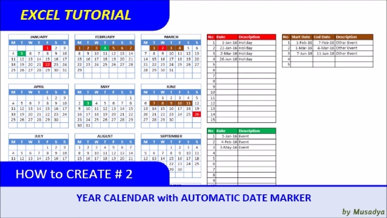 How To Create Excel Calendar For Specific Year With Automatic Date Marker within Excel Formula For Calendar Year 2020