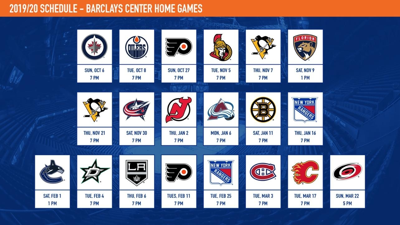 Islanders Announce 2019-20 Schedule intended for Nashille Predators 2019-2020 Calendar Printable