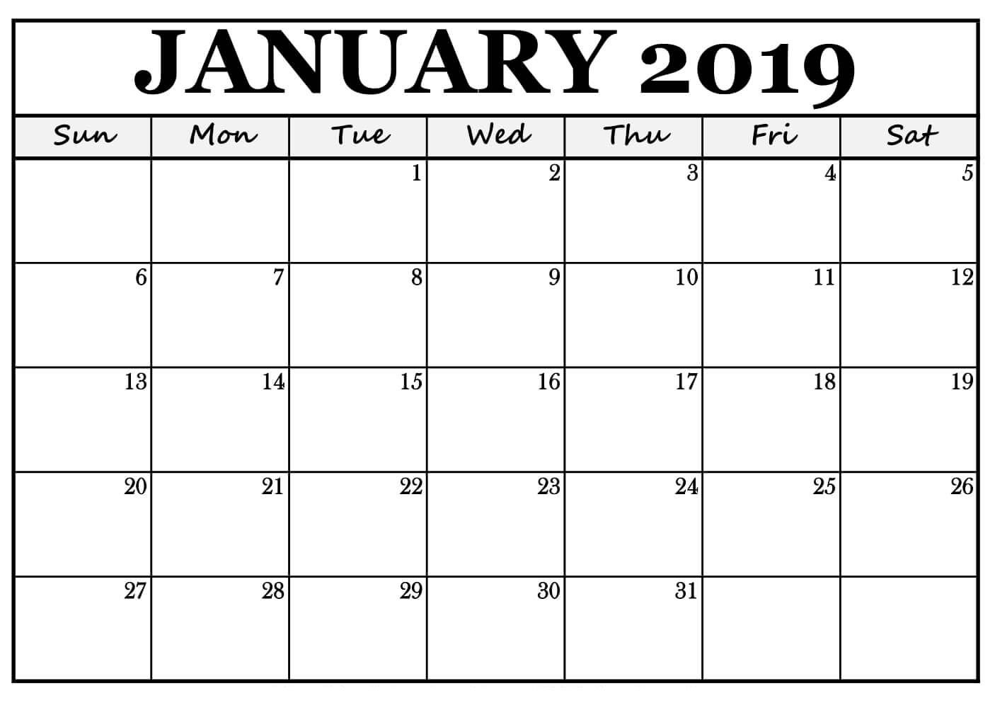 January 2019 Calendar For #landscape Free Print | November with regard to Free Printable Blank Monthly Calendar 2019