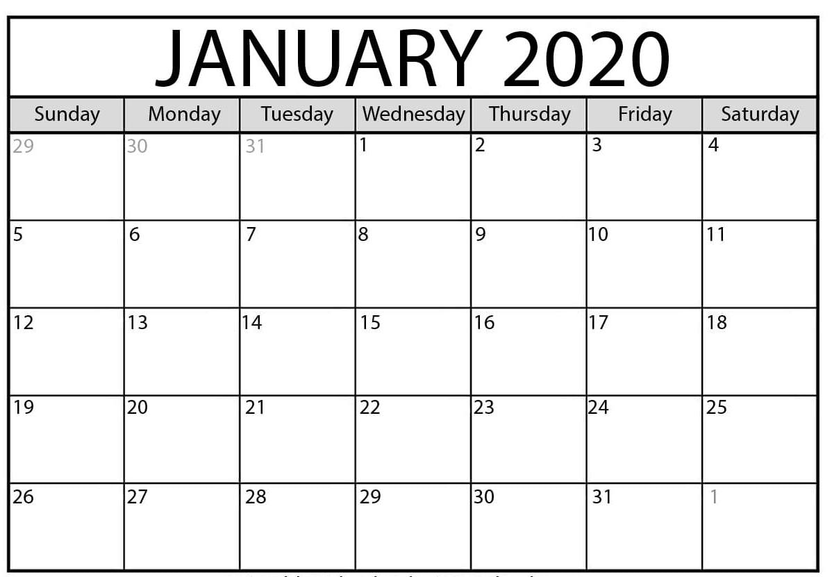 January 2020 Calendar Excel – Free Monthly Calendar in Downloadable 2020 Monthly Calendar Template Word