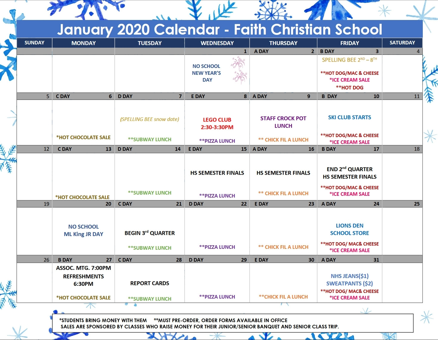 January 2020 Calendar – Faith Christian School intended for Chic Fil A 2020 Calendars