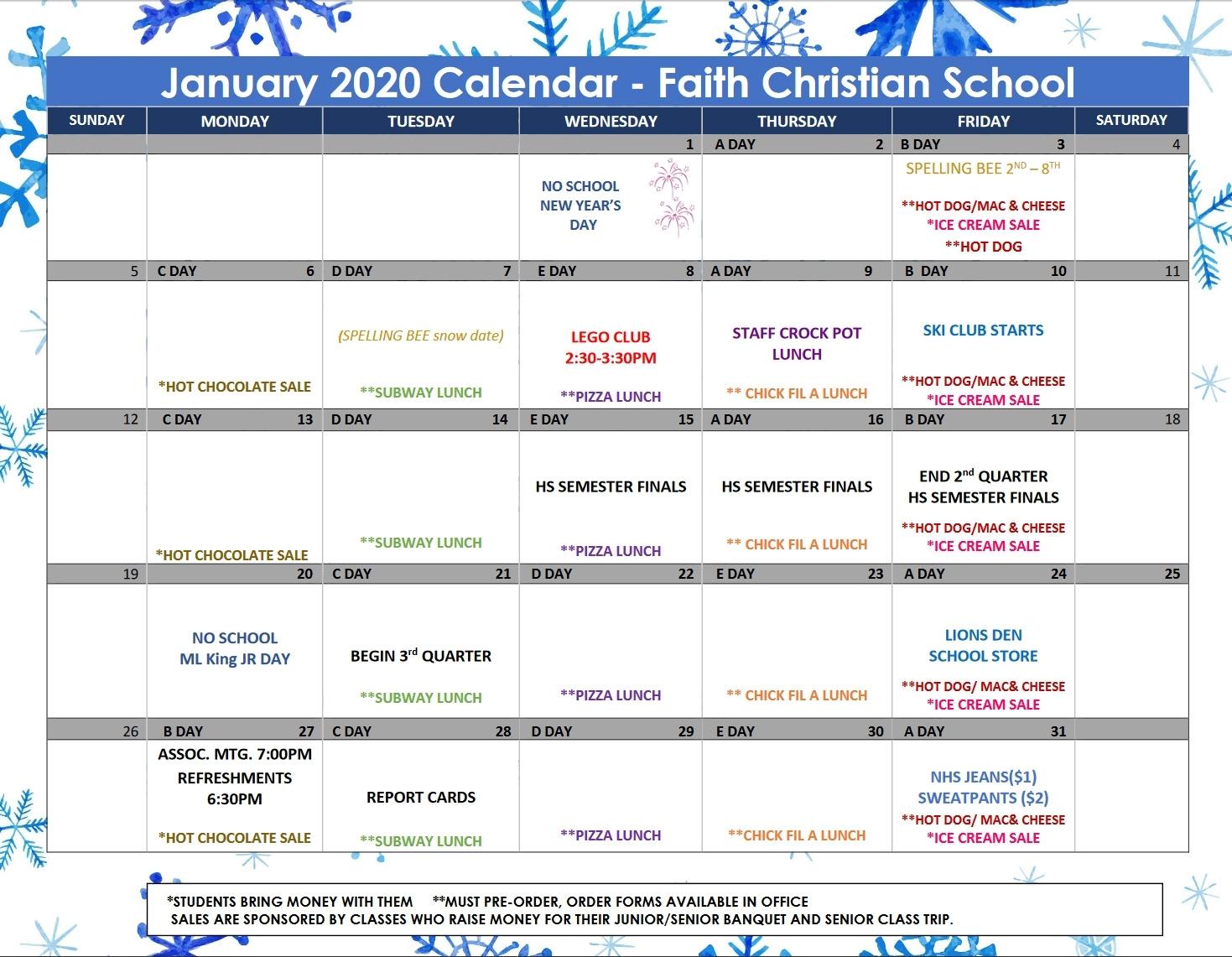 January 2020 Calendar – Faith Christian School with Chic Fil A Calendar 2020