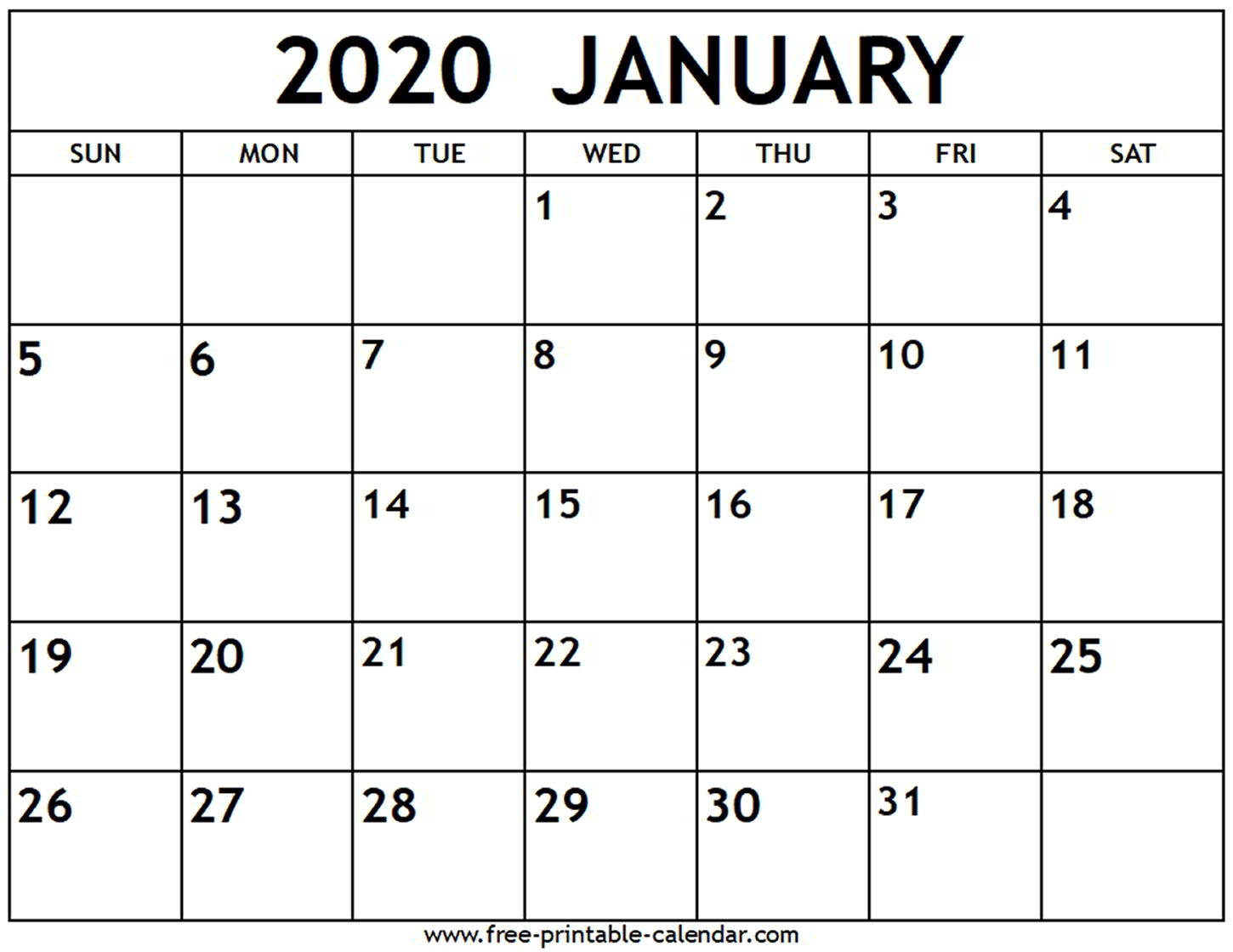 January 2020 Calendar - Free-Printable-Calendar in Print Free Calendars Without Downloading