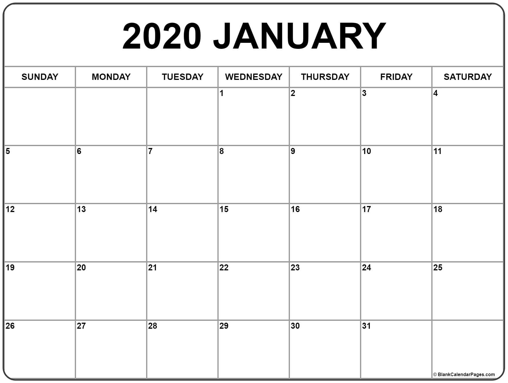 January 2020 Calendar | Free Printable Monthly Calendars for 2020 Fill In Calendar Fill In