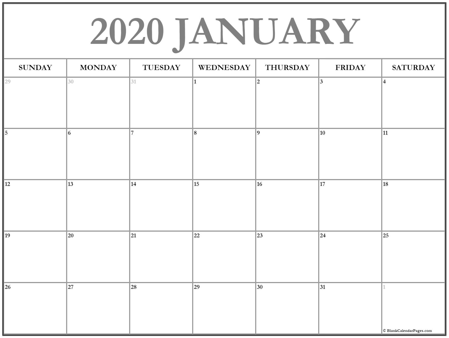 January 2020 Calendar | Free Printable Monthly Calendars with regard to Free Printable 2020 Canadian Calendar Motivational