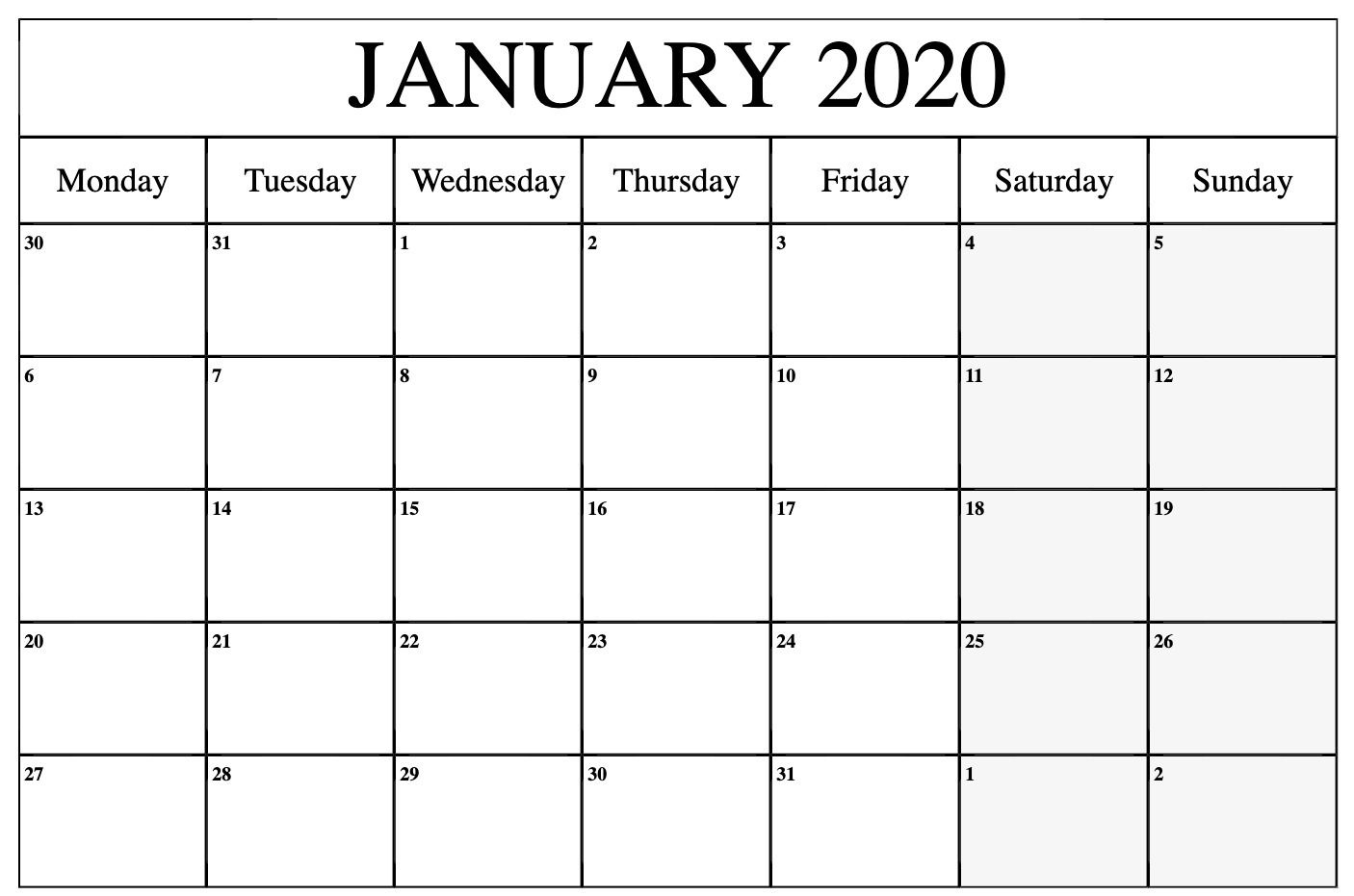 January 2020 Calendar Printable Monday | Printable Calendar intended for 2020 Calendar Printable Monday Sunday