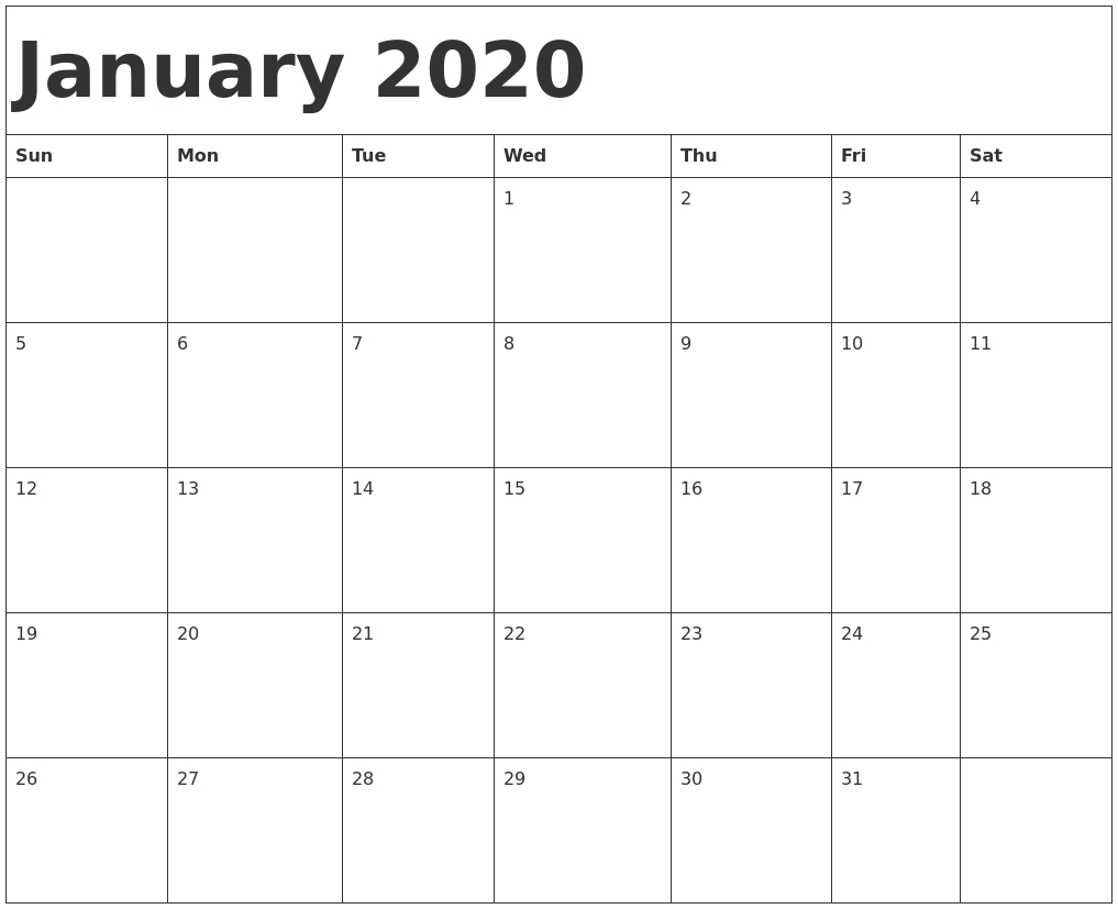 January 2020 Calendar Template inside 2020 Calendar Template Monday Sunday