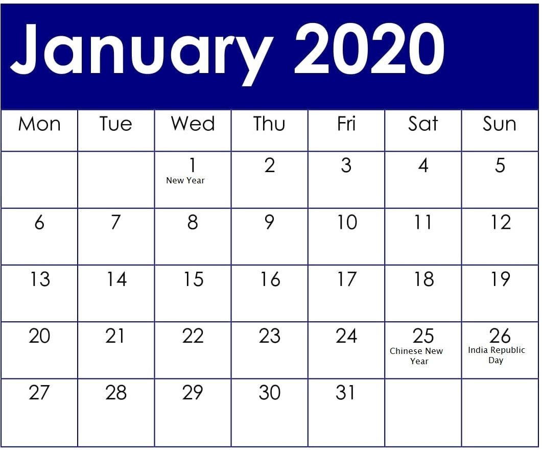 January 2020 Calendar With American Holidays And Events in Special Days In 2020 Calendar