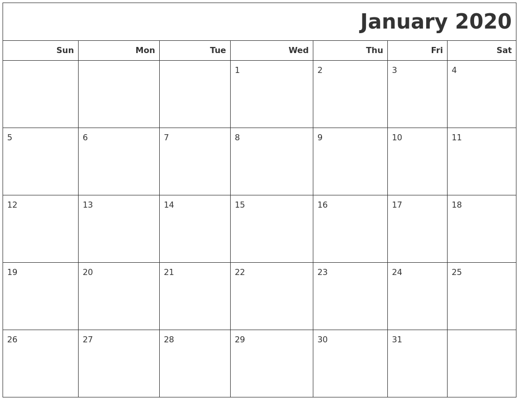 January 2020 Calendars To Print pertaining to 2020 Calendar Print Mon To Sunday
