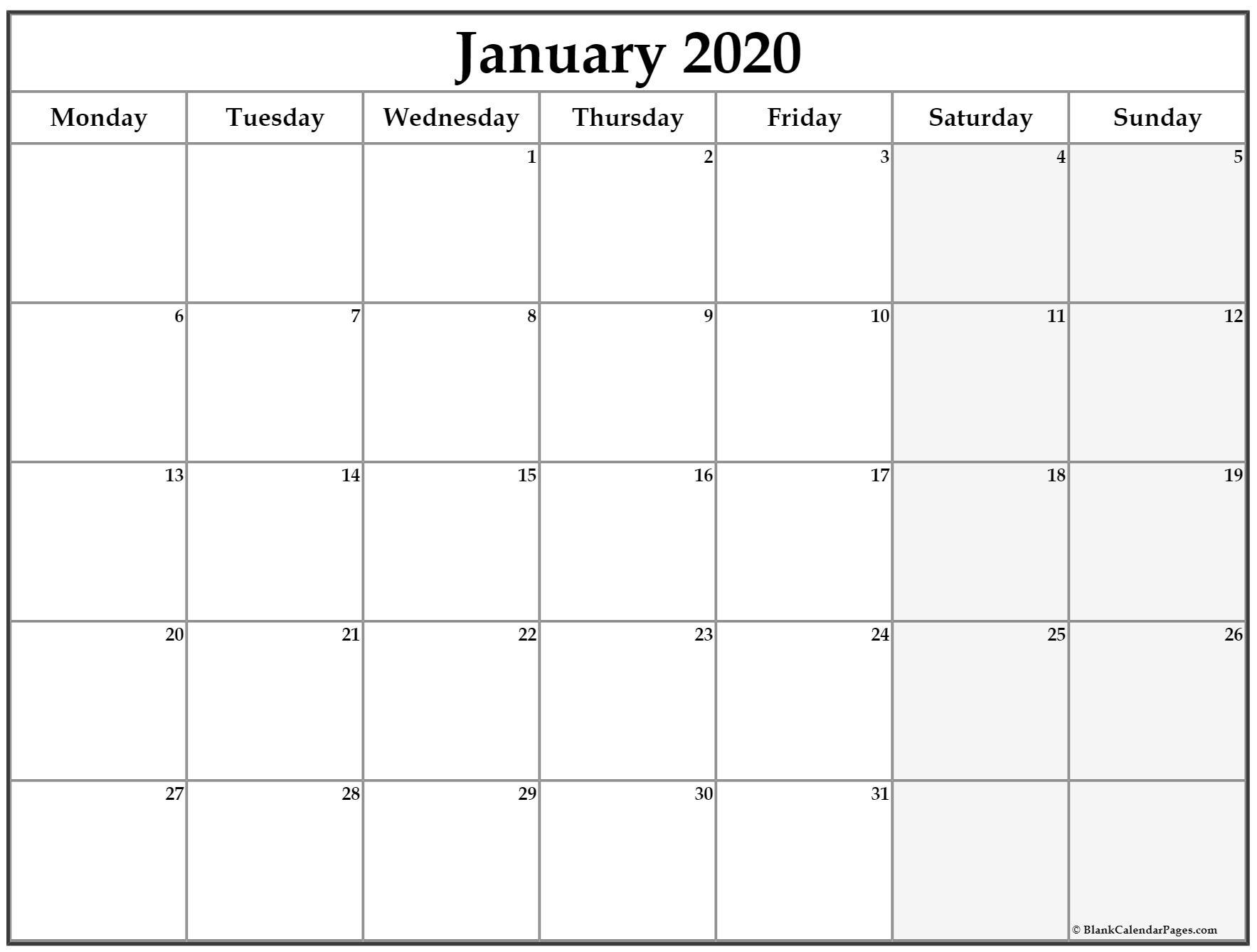January 2020 Monday Calendar | Monday To Sunday throughout 2020 Calendar Printable Monday Sunday