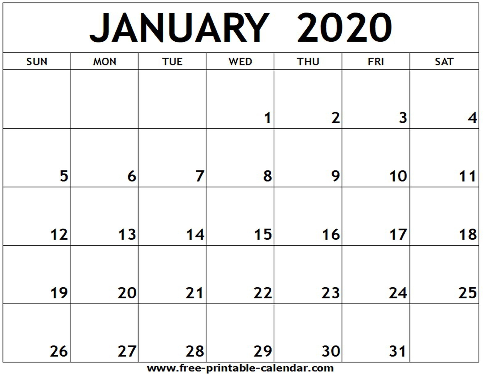 January 2020 Printable Calendar - Free-Printable-Calendar for 2020 Fill In Calendar Fill In