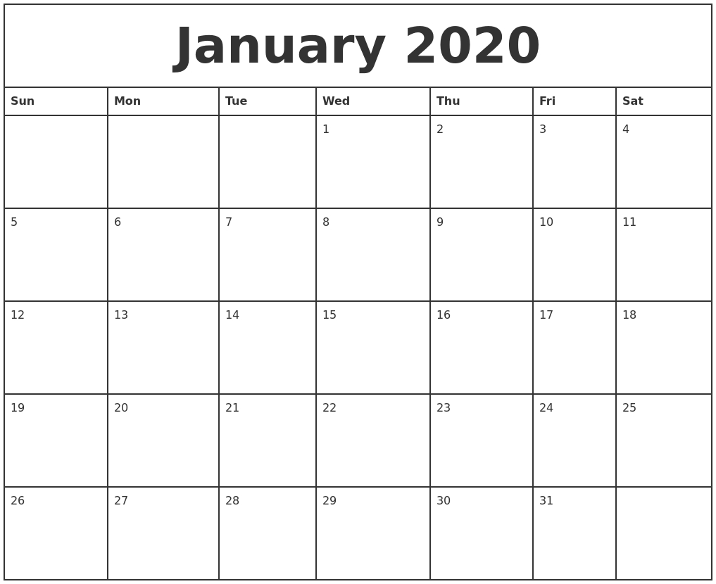 January 2020 Printable Monthly Calendar inside 2020 Monthly Calendar Monday Start Printable