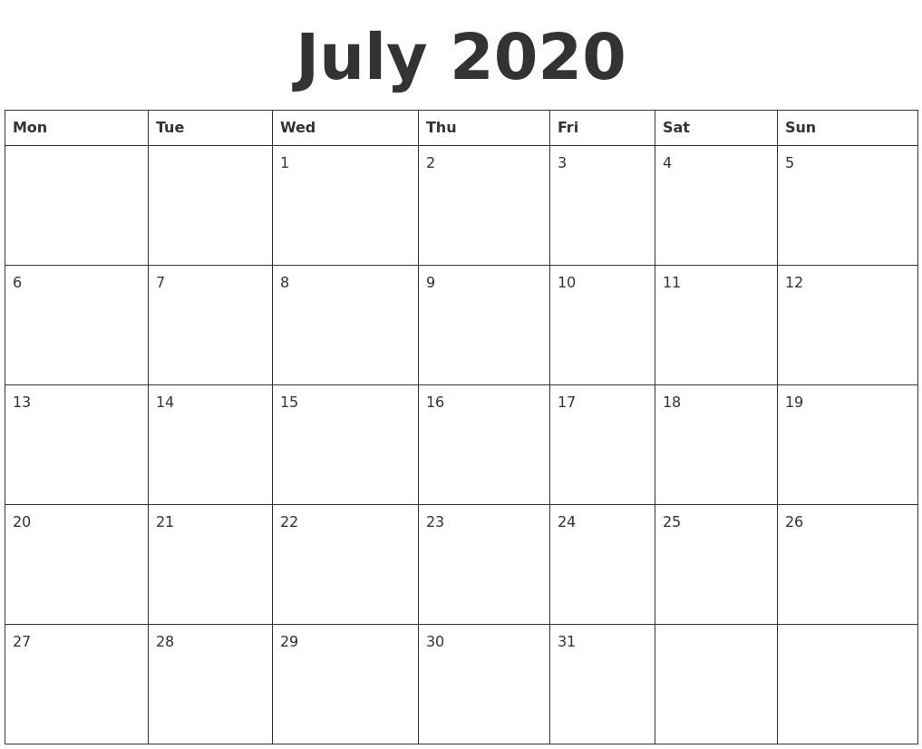 July 2020 Blank Calendar Template in Blank Calander 2020 Fill In