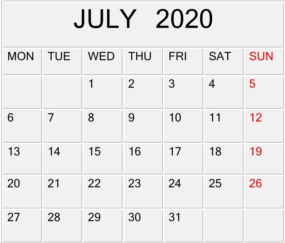 July 2020 Calendar Template Editable Design - Latest pertaining to Editable Calendar July 2019-June 2020