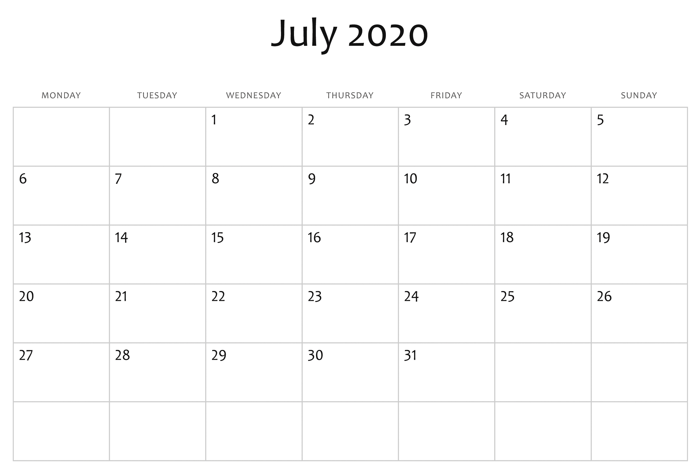July 2020 Calendar Word | Monthly Calendar Template, Free within Downloadable Calendar 2020 For Word