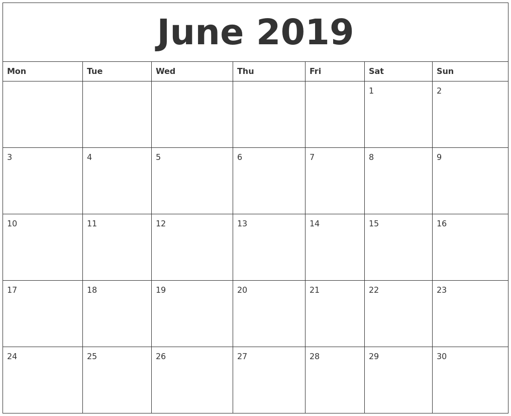 June 2019 Editable Calendar | June Calendar Printable intended for Editable Calendar July 2019-June 2020