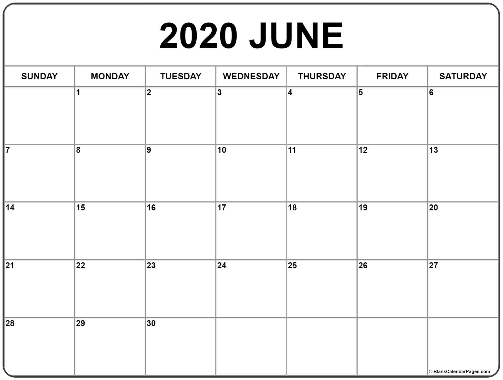 June 2020 Calendar | Free Printable Monthly Calendars regarding Calendar With Lots Of Space To Write 2020