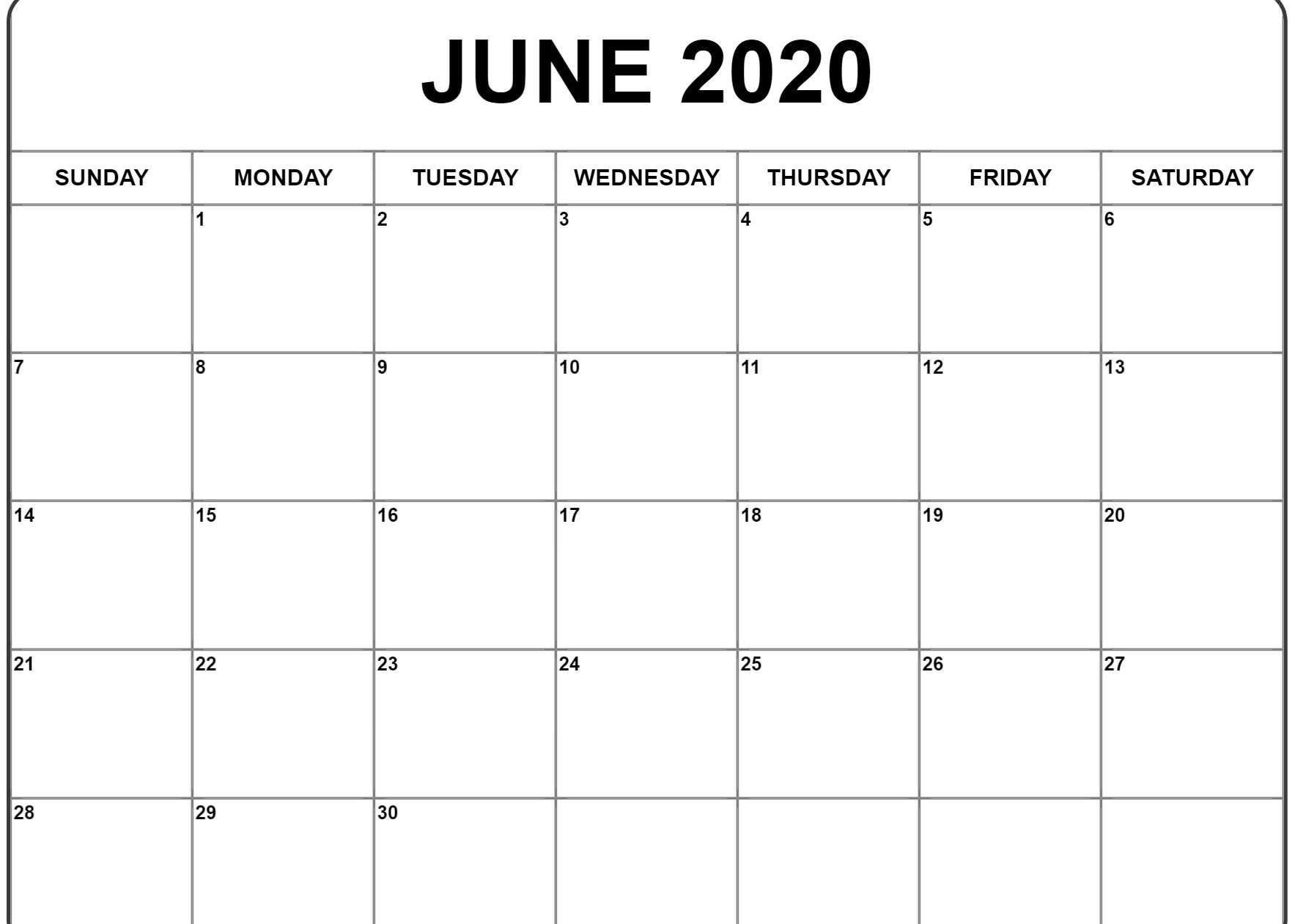 June 2020 Calendar | Printable Calendar Template, Father's in Free Calendar 2020 Starting With Mondays