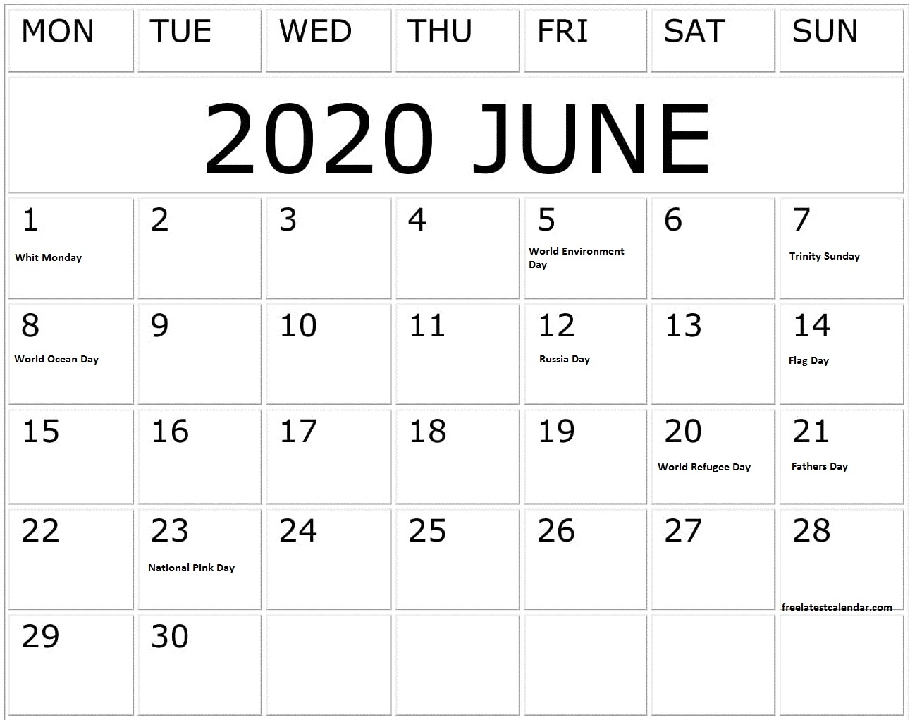 June 2020 Calendar With Holidays And Special Days – Free throughout Special Days In June 2020