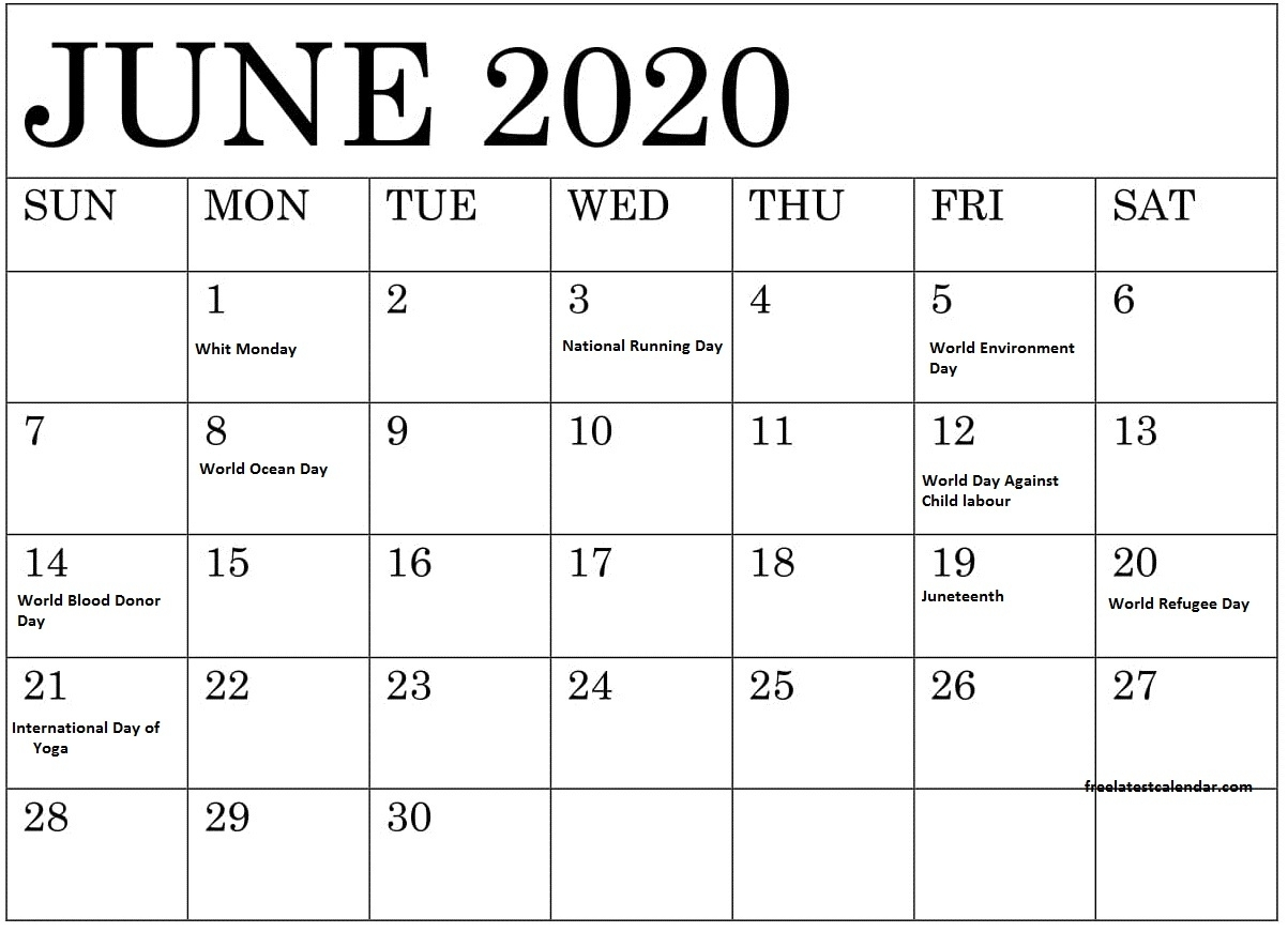 June 2020 Calendar With Holidays And Special Days – Free with regard to Special Days In June 2020
