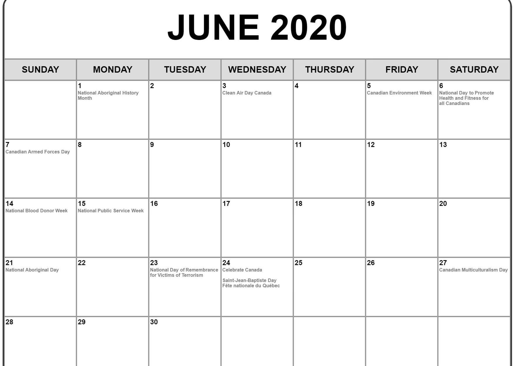 June 2020 Calendar With Holidays | Monthly Calendar Template intended for Printable Calendar 2020 Monthly With Holidays