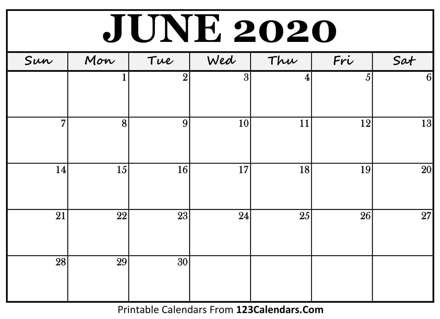 June 2020 Printable Calendar | 123Calendars intended for 2020 Liturgical Calendar June 2020