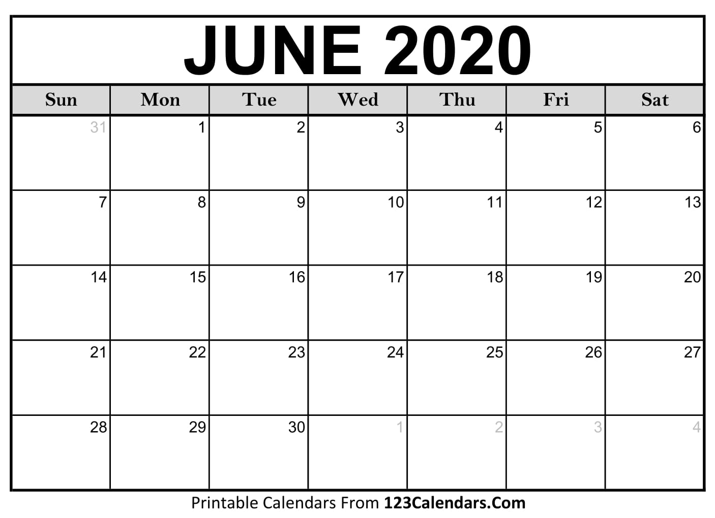 June 2020 Printable Calendar | 123Calendars intended for Special Days In June 2020