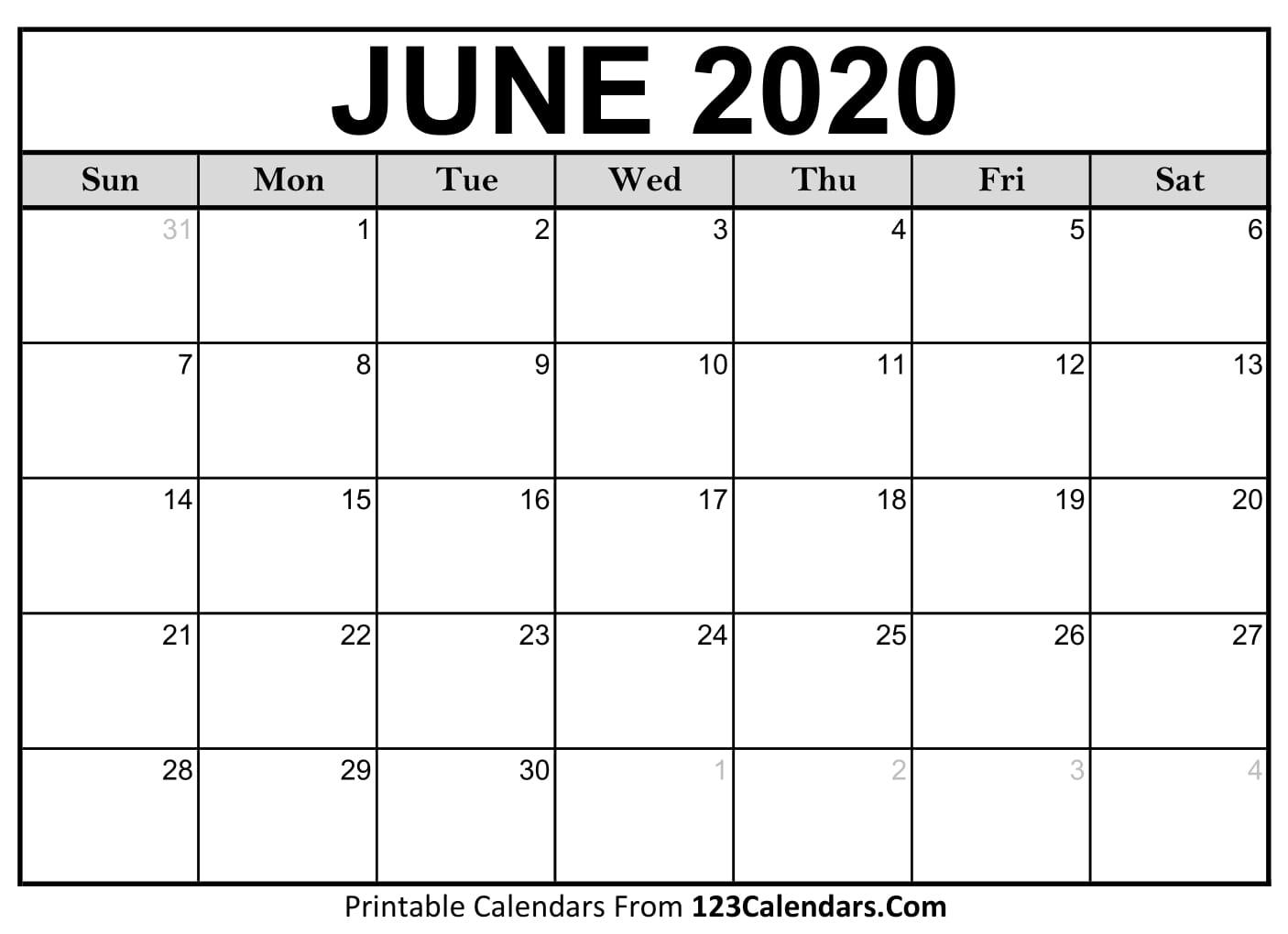 June 2020 Printable Calendar | 123Calendars with regard to 2020 Liturgical Calendar June 2020
