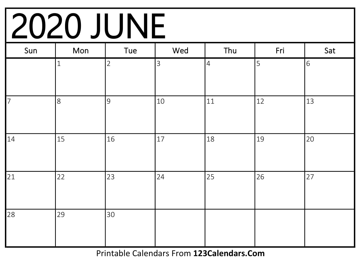 June 2020 Printable Calendar | 123Calendars with Special Days In June 2020