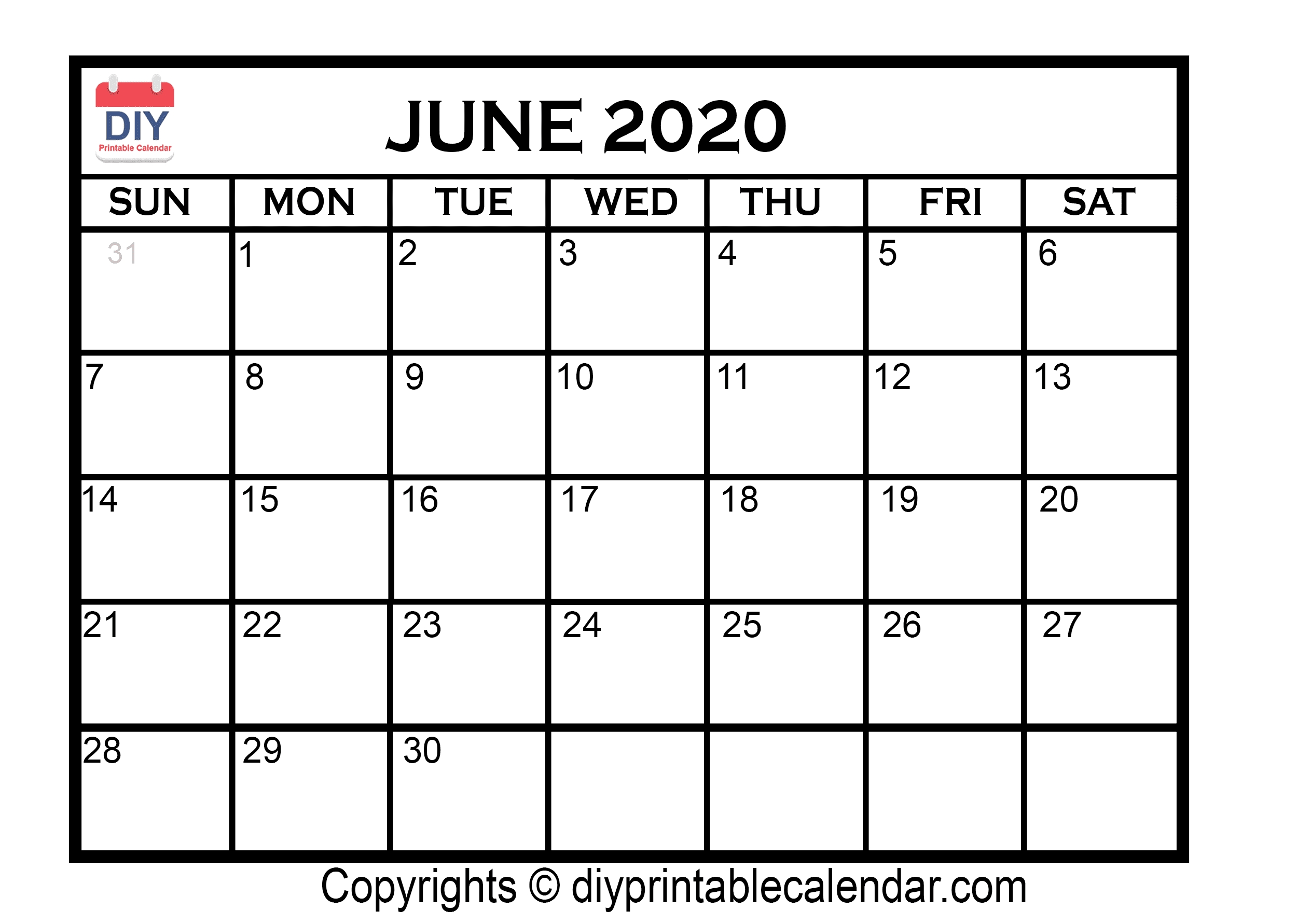 June 2020 Printable Calendar Template for 2020 Calendar With Spaces To Write On Free
