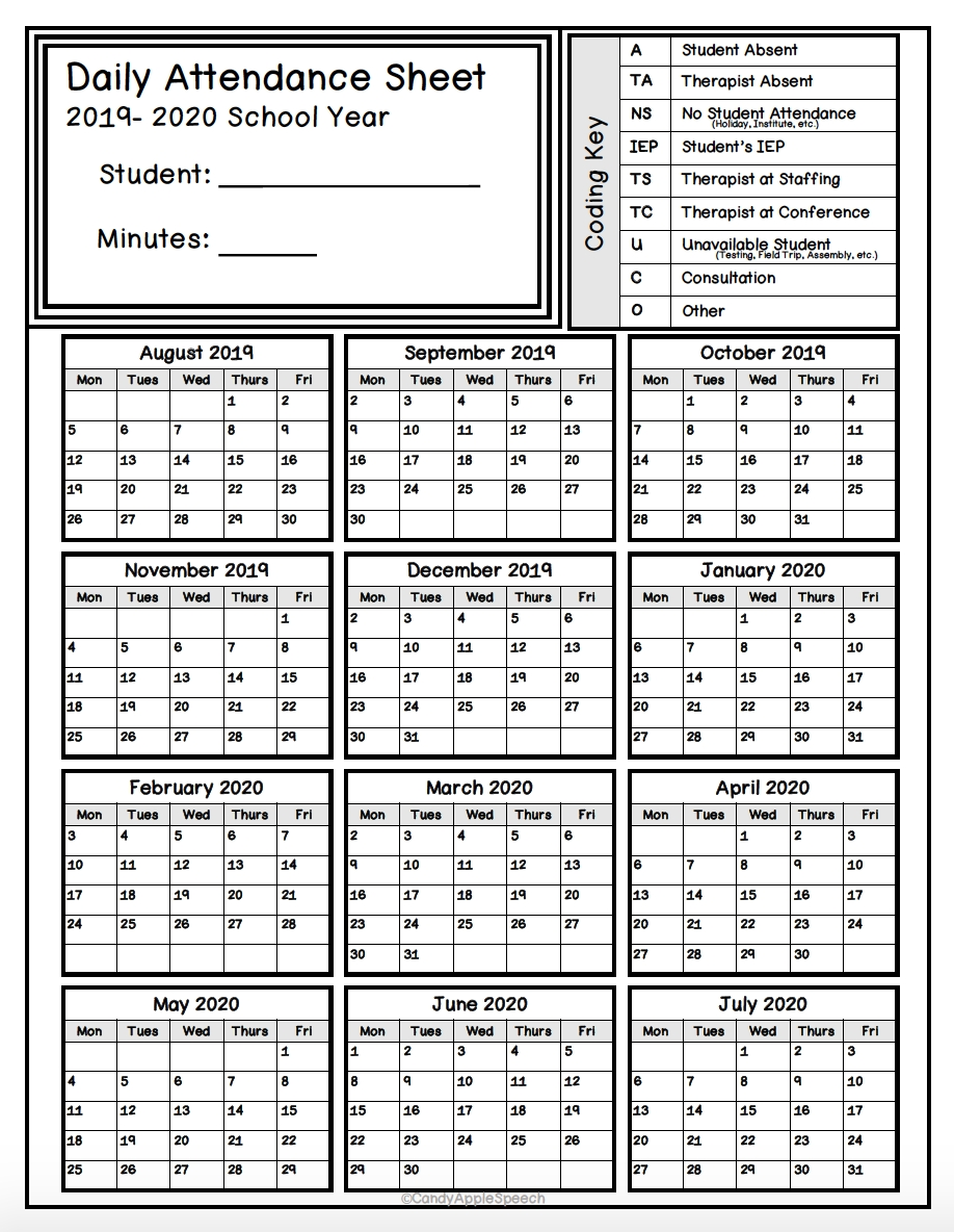 Keep Track Of Attendance With This Simple Form! | Attendance throughout 2020 Employee Attendance Calendar Free