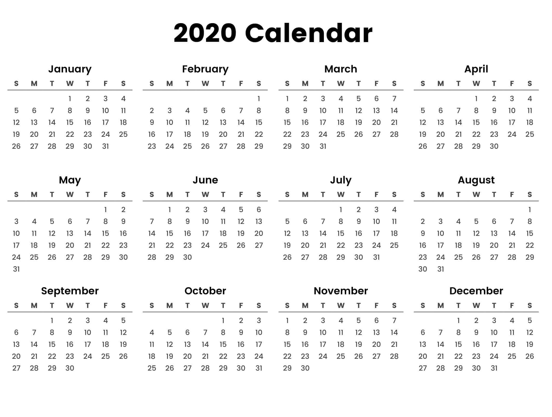 Large Yearly Calendar 2020 With Notes Pdf - Set Your Plan with 2020 Year At A Glance Printable